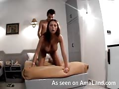Hidden cam scene with lovely bae in strong doggy pose