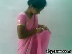 Cute Indian Desi Girl in Pink Saree Sucking and Fucking