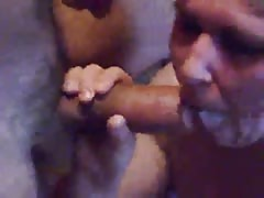 Dirty milf blonde is trying to swallow a massive boner