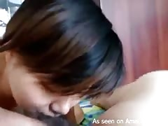 Japanese beauty gf lick pink dickhead and tries to swallow it