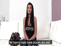 FakeAgent Tanned babe with big tits fucks in Casting interview