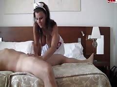 Slutty brunette nurse is having her butt kicked with dick
