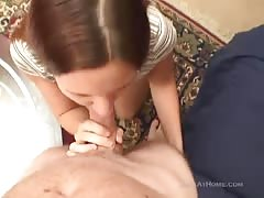Smiling hot cheating wife is enjoying gagging and face fucking