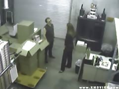 Security Cam Catches Woman Fucking Her Employee