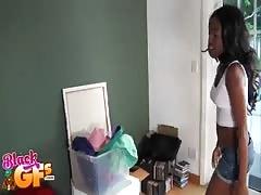 Kinky ebony brunette posing and seducing her white friend