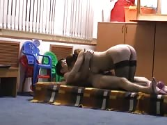 Long-legged Russian babe is getting pounded on the hidden cam