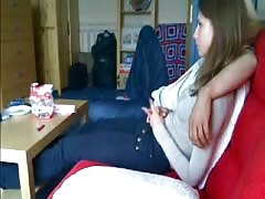 Elegant blowjob in the bedroom provided by a Russian chick