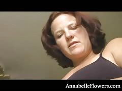 Amateur Annabelle Flowers is wanking a boner and playing with tits