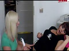 Two ex-girlfriends teens playing with big vibrator