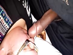 Fat black boner entering a ladys mouth and pussy