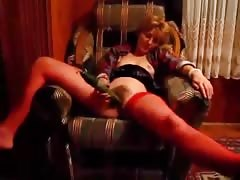 Redhead plays with her pussy and fucks in the missionary pose